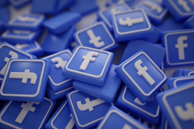 Pila de 3d logotipos de facebook Foto gratis