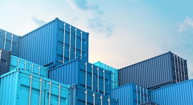 Pila de caja de contenedores azul, buque de carga para importación y exportación 3d Foto Premium