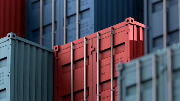 Pila de caja de contenedores, buque de carga para logística de importación y exportación Foto Premium