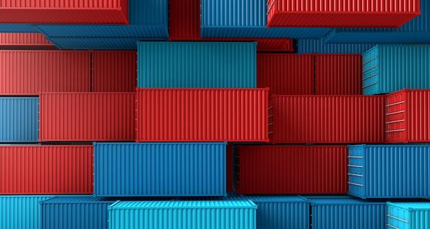 Pila de caja de contenedores, buque de carga en la vista superior Foto Premium
