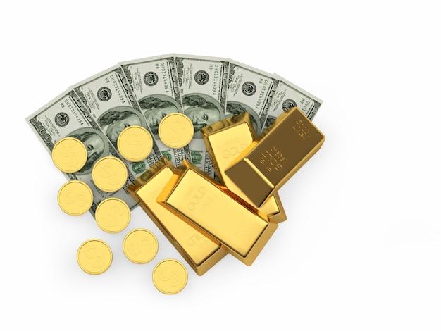 Pila De Lingotes De Oro Y Monedas En Billetes De Un Dólar Foto Premium