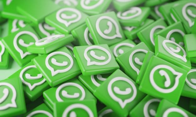 Pila de logotipos 3d de whatsapp Foto Premium