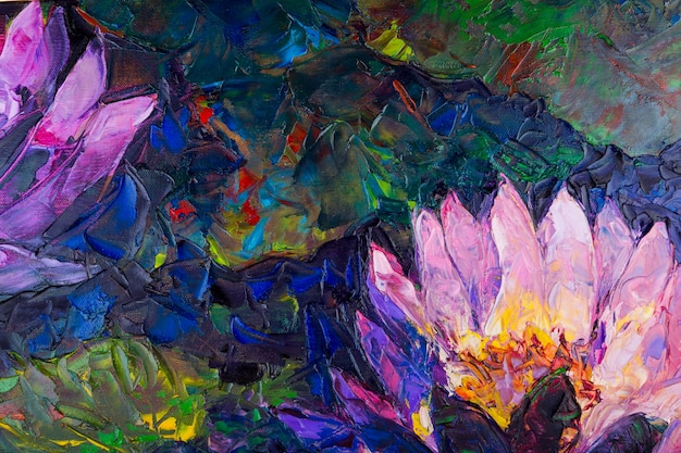 Pintura al óleo de la flor de loto hermoso Foto gratis