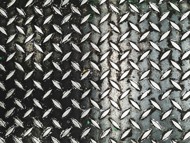 Piso de acero del fondo abstracto del modelo en fábrica industrial Foto Premium