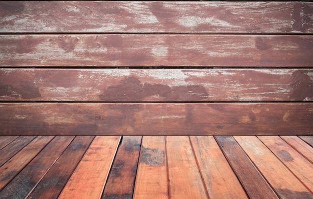 Piso de madera marrón vintage con fondo de pared de madera marrón, para Foto Premium