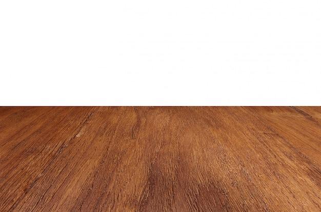 Piso de madera vacía perspectiva mesa fondo superior Foto Premium