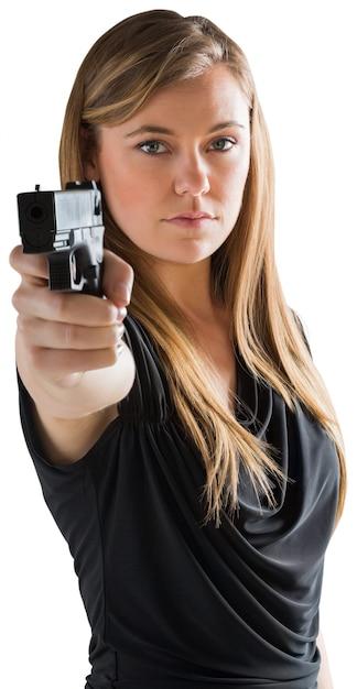 Pistola apuntando femme fatale a la cámara | Descargar Fotos premium
