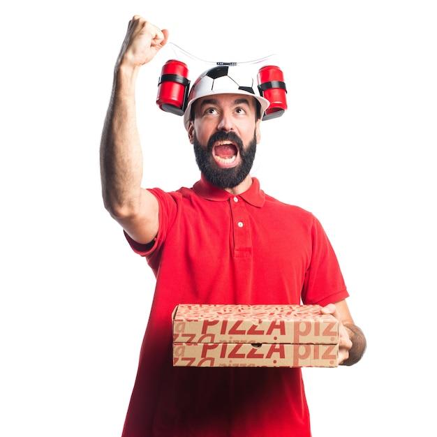 Pizza entrega hombre haciendo gesto de la victoria | Descargar Fotos ...