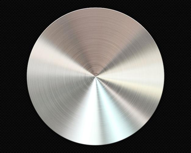 Placa circular de metal cepillado sobre fondo de fibra de carbono Foto gratis