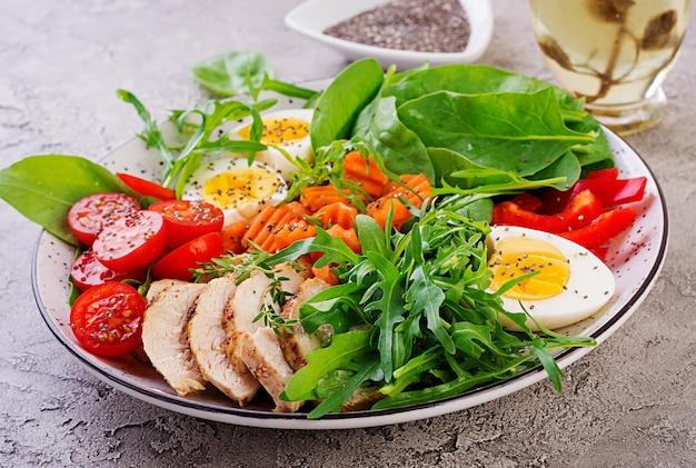 Placa con una comida de dieta ceto. tomates cherry, pechuga de pollo, huevos, zanahoria, ensalada con rúcula y espinacas. almuerzo keto Foto Premium