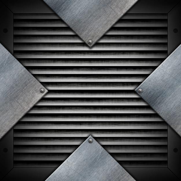 Placas metálicas en una textura metálica. Foto gratis