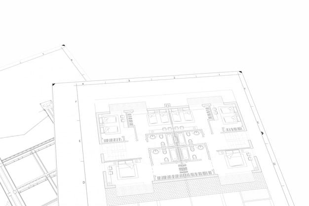 Plan parte del proyecto arquitectónico sobre el papel blanco. Foto Premium