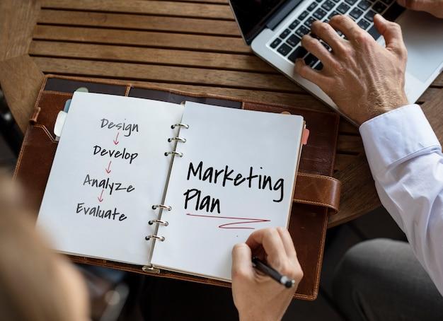 Plan de trabajo proceso de negocio ilustración gráfica Foto Premium
