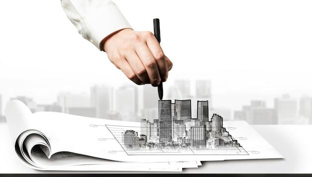 Planificación civil de la ciudad y desarrollo inmobiliario. Foto Premium