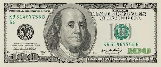 Plano macro de un dólar 100 Foto Premium