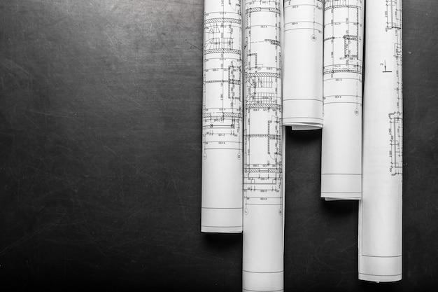 Planos de construcción, vista superior Foto Premium