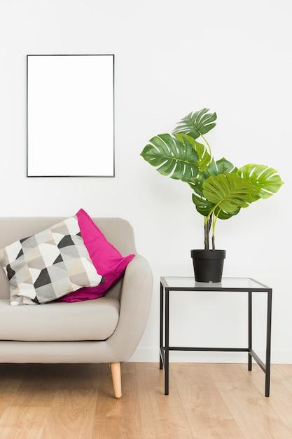 Planta decorativa con marco vacío y sofá Foto gratis