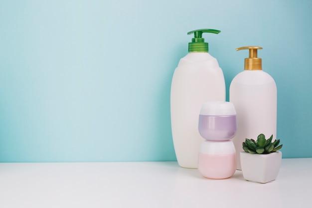 Planta en maceta cerca de botellas de cosméticos y frascos Foto gratis
