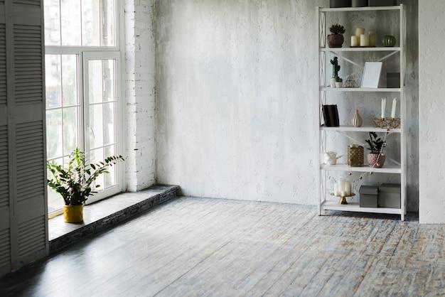 Planta en maceta cerca de la ventana y estante en la habitación. Foto gratis