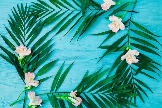 Plantar hojas y flores en el escritorio. Foto gratis