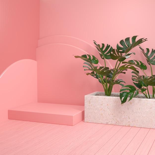 Plataforma rosa maqueta mínima con plantas monstera y piso de madera render 3d Foto Premium