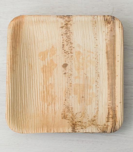 Plato de bambú. concepto de movimiento libre de plástico. Foto Premium