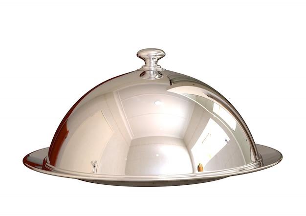 Plato cerrado de la comida del cloche de plata del cromo en el restaurante aislado en blanco Foto Premium