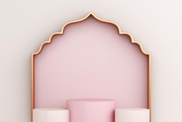 Podio de exhibición islámico con marco de ventana árabe Foto Premium