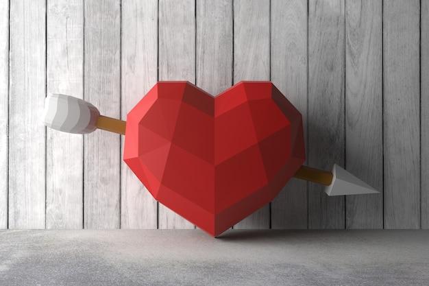 Bajo poli corazón en la pared. representación 3d Foto Premium