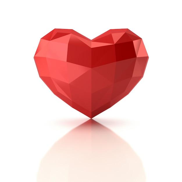 Bajo poli corazón. representación 3d Foto Premium