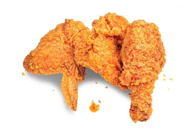 Pollo frito aislado en el fondo blanco Foto Premium