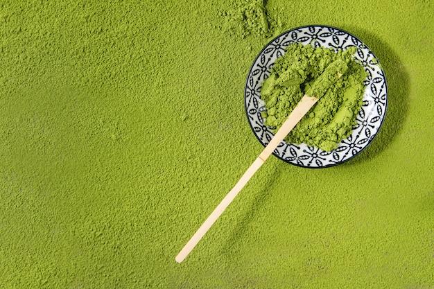 Polvo matcha de té verde Foto Premium