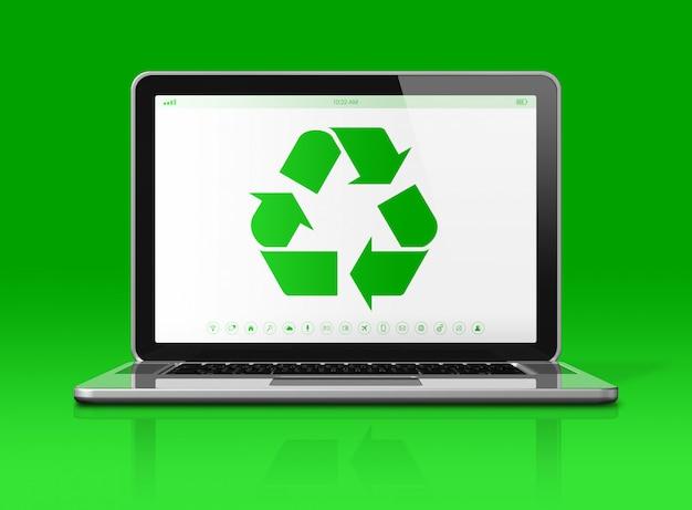 Portátil con un símbolo de reciclaje en la pantalla. Foto Premium
