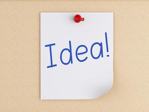 Post-it 3d con pasador sobre corcho. concepto de negocio Foto Premium