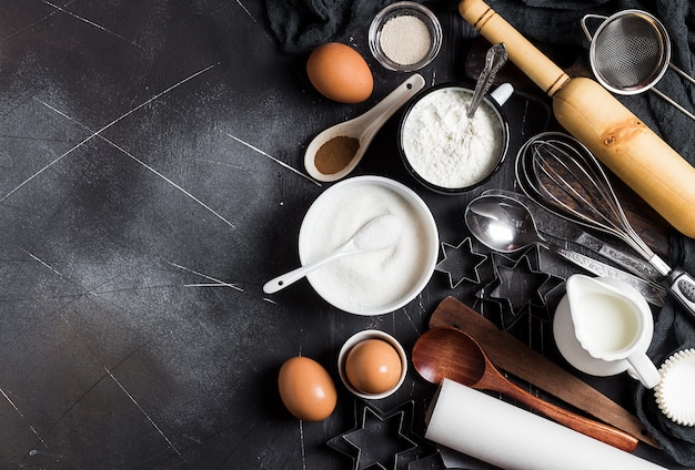 Preparación de ingredientes de cocción de la cocina para cocinar. Foto gratis