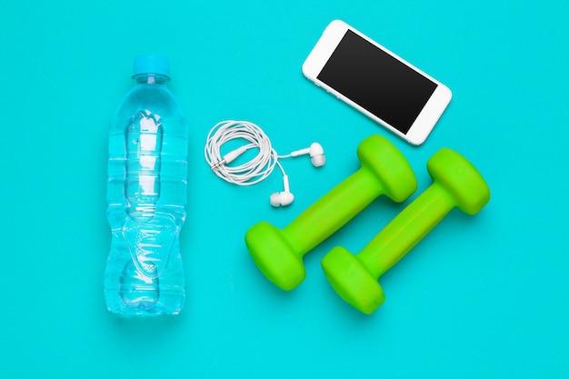Preparación para la vista superior de equipos deportivos de fitness Foto Premium