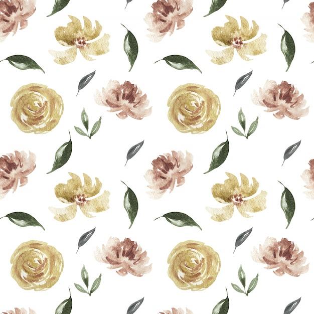 Primavera acuarela flor rosa y borgoña y coral flores de patrones sin fisuras Foto Premium