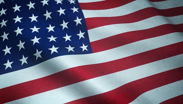 Primer plano de la bandera ondeante de los estados unidos de américa con texturas interesantes Foto gratis
