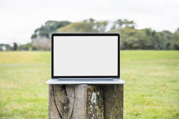 Primer plano de la computadora portátil en el poste de madera en el parque Foto gratis