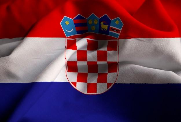 Primer plano de la bandera con volantes de croacia, bandera de ...