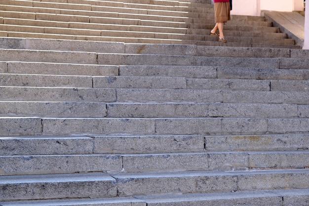 Primer plano de escalera de granito urbano Foto Premium