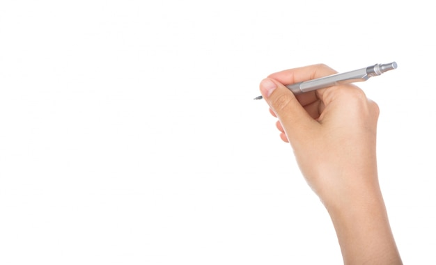 Primer plano de mano sujetando un bolígrafo para escribir Foto gratis