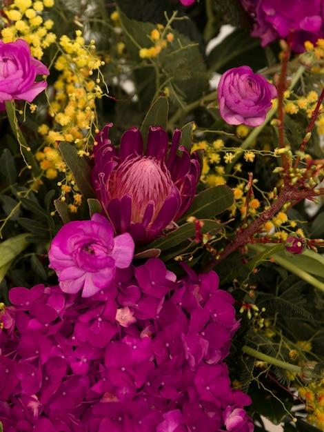 Primer plano de ramo de flores frescas Foto gratis