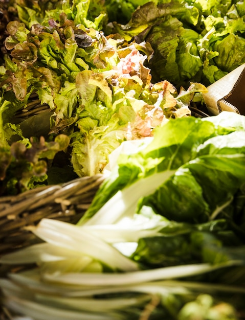 Primer plano de vegetales de hoja en el mercado Foto gratis