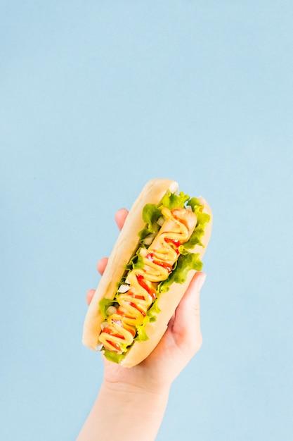 Primer plano vista superior mano sosteniendo hotdog Foto Premium