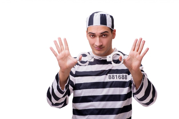 Prisionero hombre aislado en blanco Foto Premium