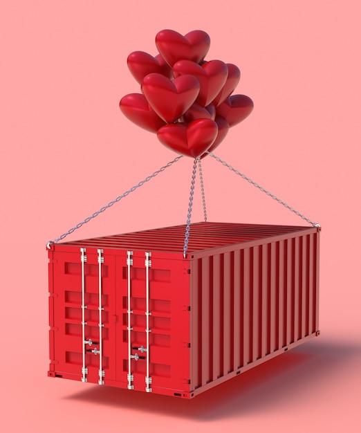 Procesamiento 3d importación y exportación de corazones en contenedores. Foto Premium