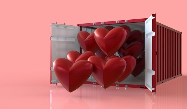 Procesamiento 3d importar y exportar corazones en contenedores, día de san valentín en fondo rosa. Foto Premium