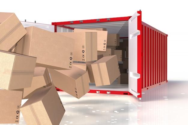 Procesamiento 3d del producto de envío, caja en el contenedor. Foto Premium
