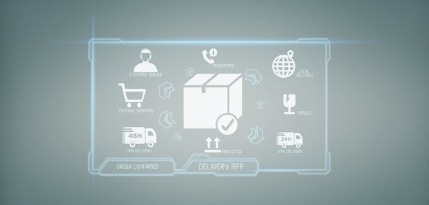 Procesamiento logístico de entrega pantalla de renderizado 3d. Foto Premium